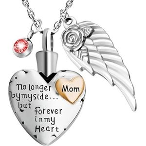 Jewelry - NEW! Mom Cremation Heart & Angel Silver Necklace ❤